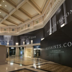 All Saints retail barricade installation at Las Vegas Forum Shops