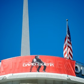 Large format building banners for the iconic Capital Records tower in Los Angeles
