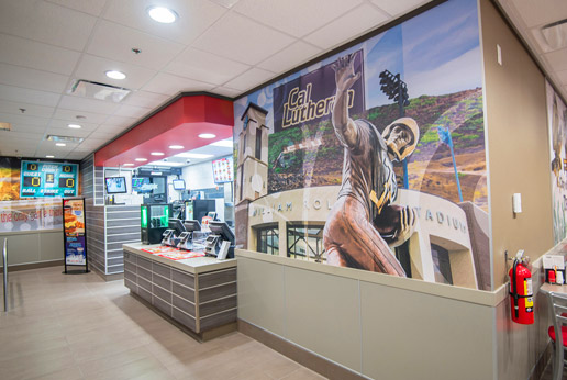 agretail wall covering graphics for restuarant chain