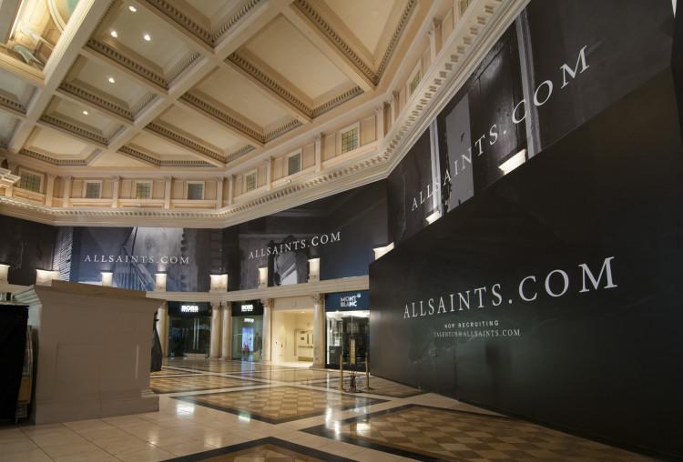 All Saints retail barricade installation at Las Vegas Forum