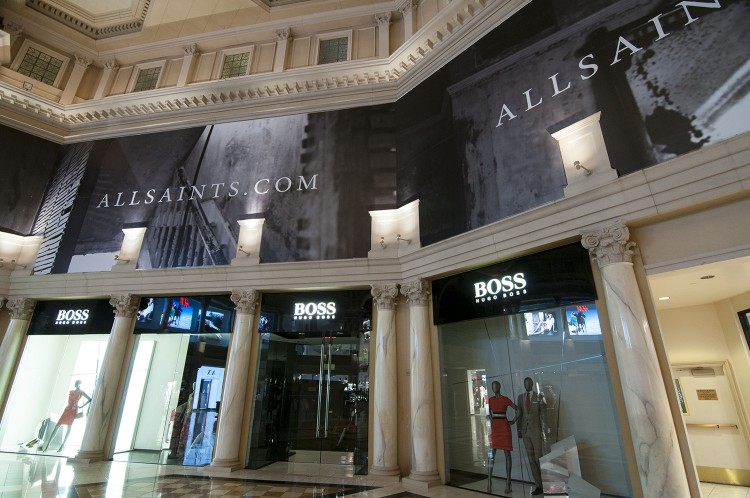 All Saints 2000 sq ft retail barricade installation