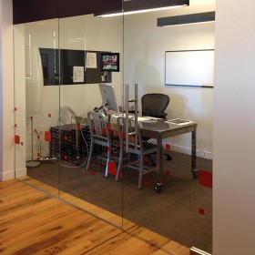 Custom printed HDClear optically clear decorative window films for corporate offices