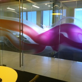 Custom printed HDClear decorative window film for corporate offices
