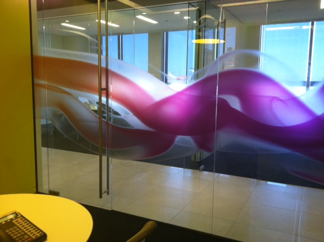 Custom Decorative Window Film custom printed hdclear decorative window film for corporate offices'