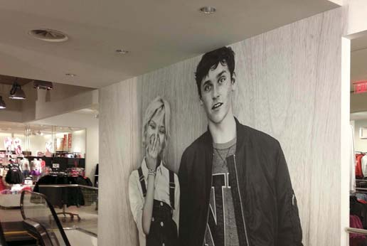 custom printed wall graphics for H&M stores