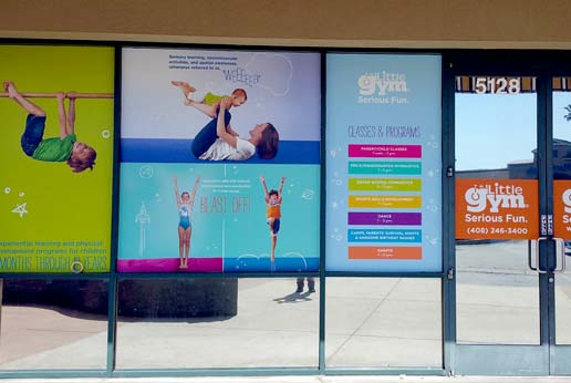 the little gym storefront window graphics